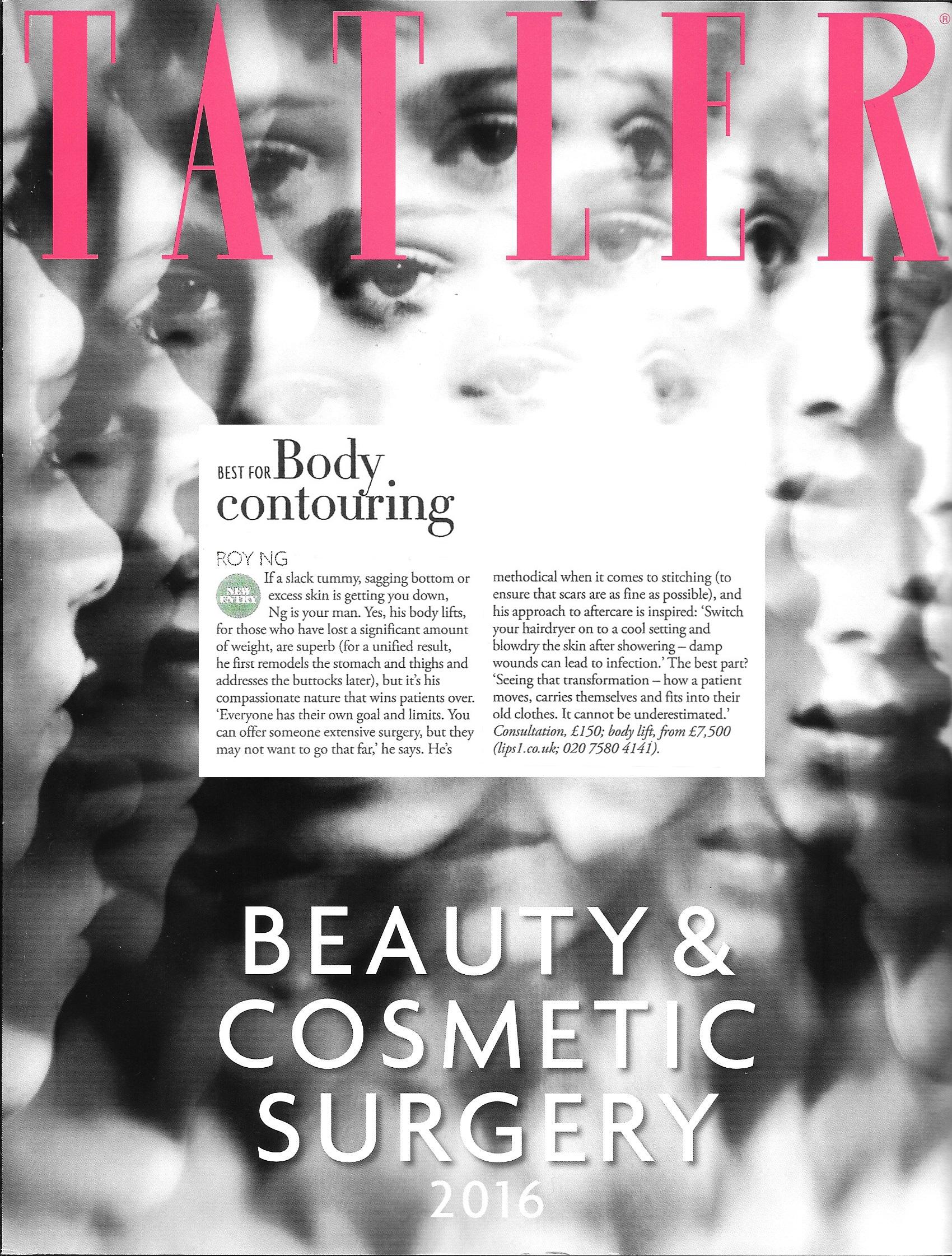 Top cosmetic surgeon - Tatler 2016